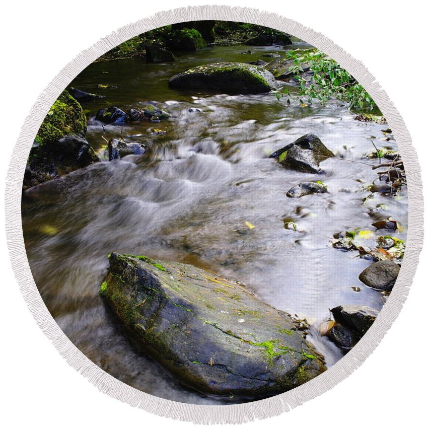 Creeks Round Beach Towel featuring the photograph Satus Creek In Autumn by Jeff Swan