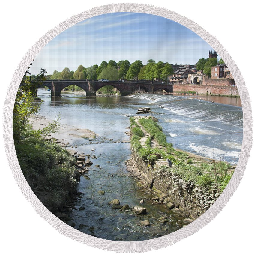 2011 Round Beach Towel featuring the photograph Scenic Landscape With Old Dee Bridge by Andrew Michael