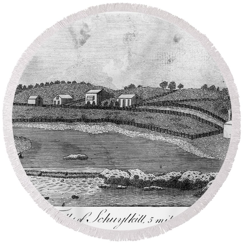 1793 Round Beach Towel featuring the photograph Schuylkill Falls, 1793 by Granger