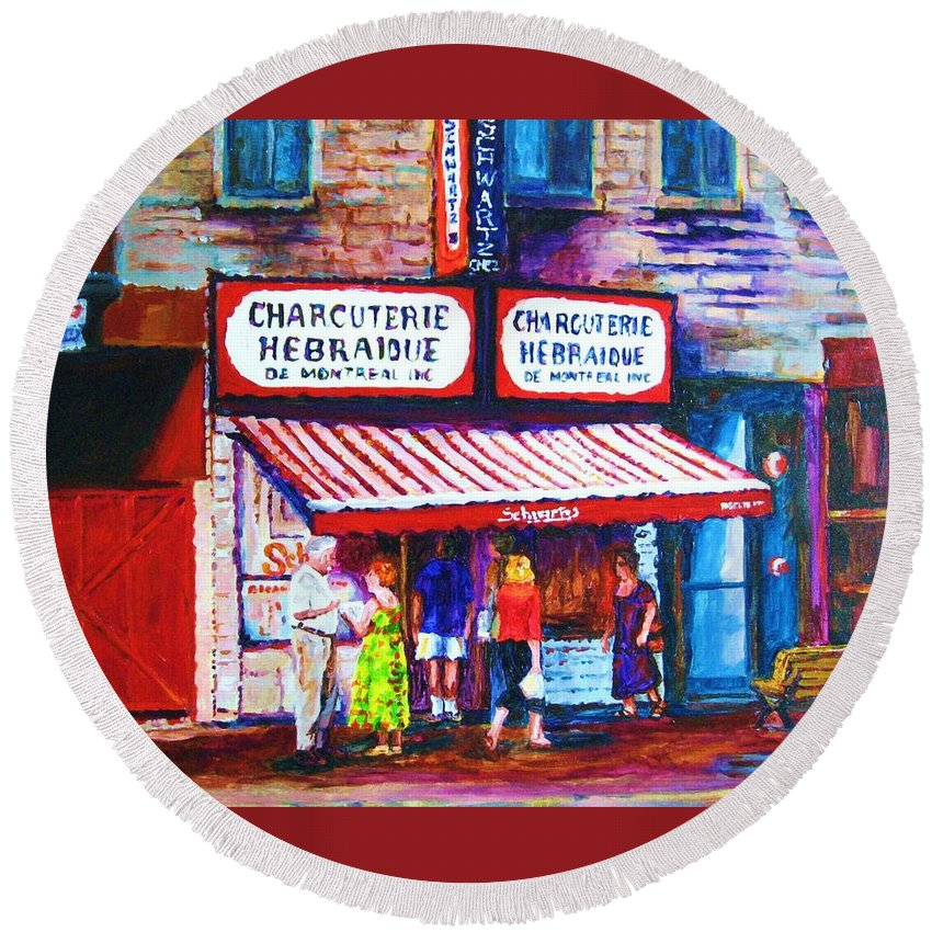 Cityscene Round Beach Towel featuring the painting Schwartz's Deli With Lady In Green Dress by Carole Spandau