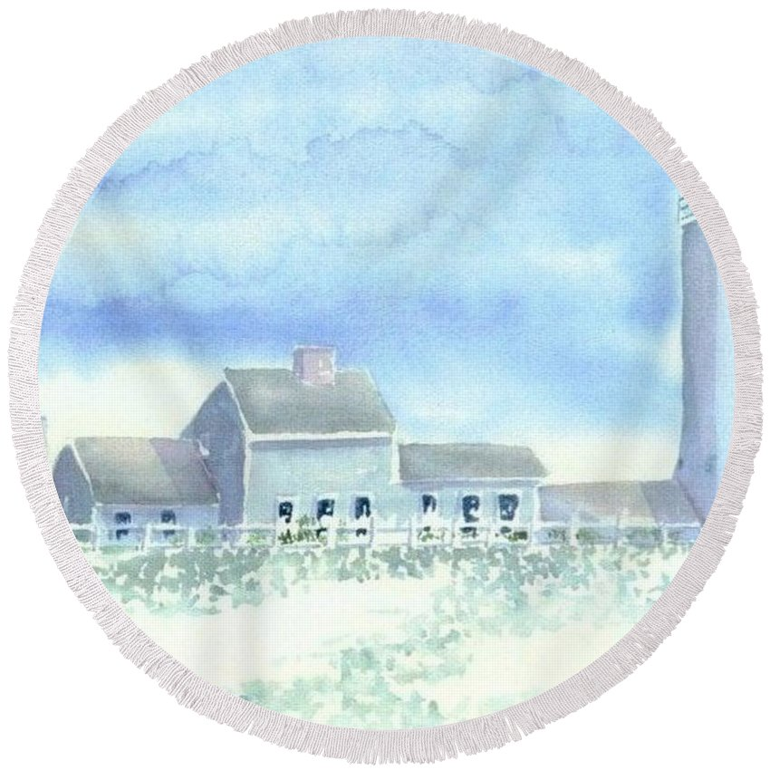 Lighthouse Round Beach Towel featuring the painting Scituate Lighthouse by Joseph Gallant