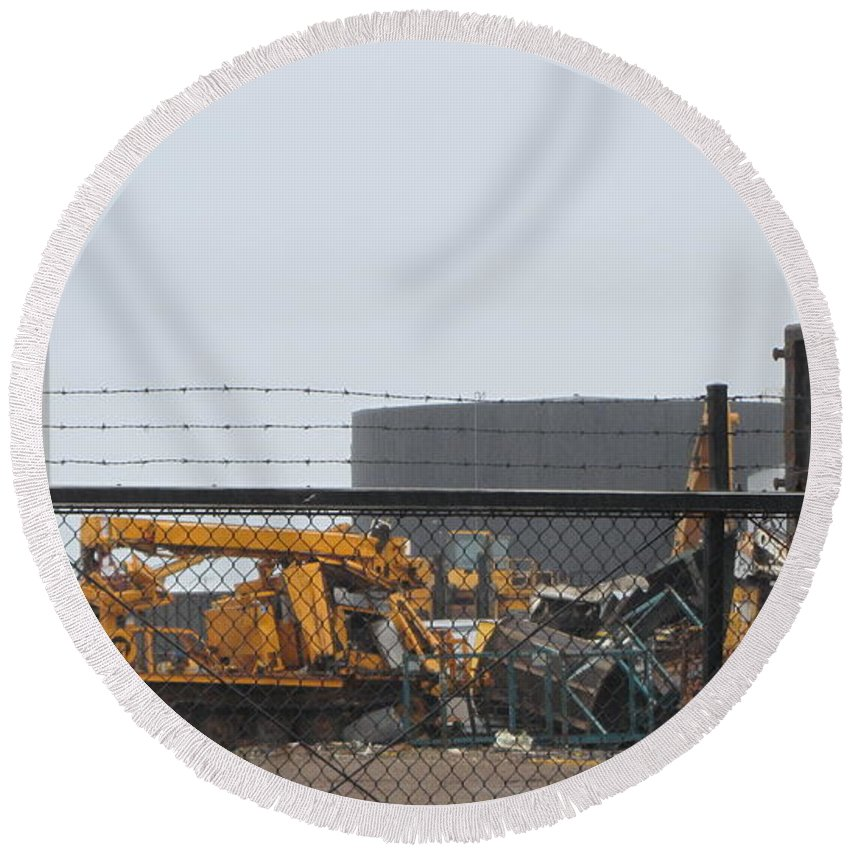 Junk Round Beach Towel featuring the photograph Scrapyard Machinery by Anita Burgermeister