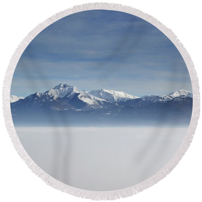 Sea Of Fog Round Beach Towel featuring the photograph Sea Of Fog by Mats Silvan