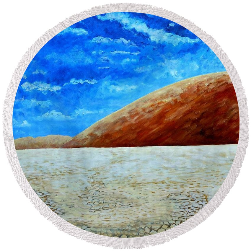 Desert Round Beach Towel featuring the painting Sea Of Sand by Caroline Street