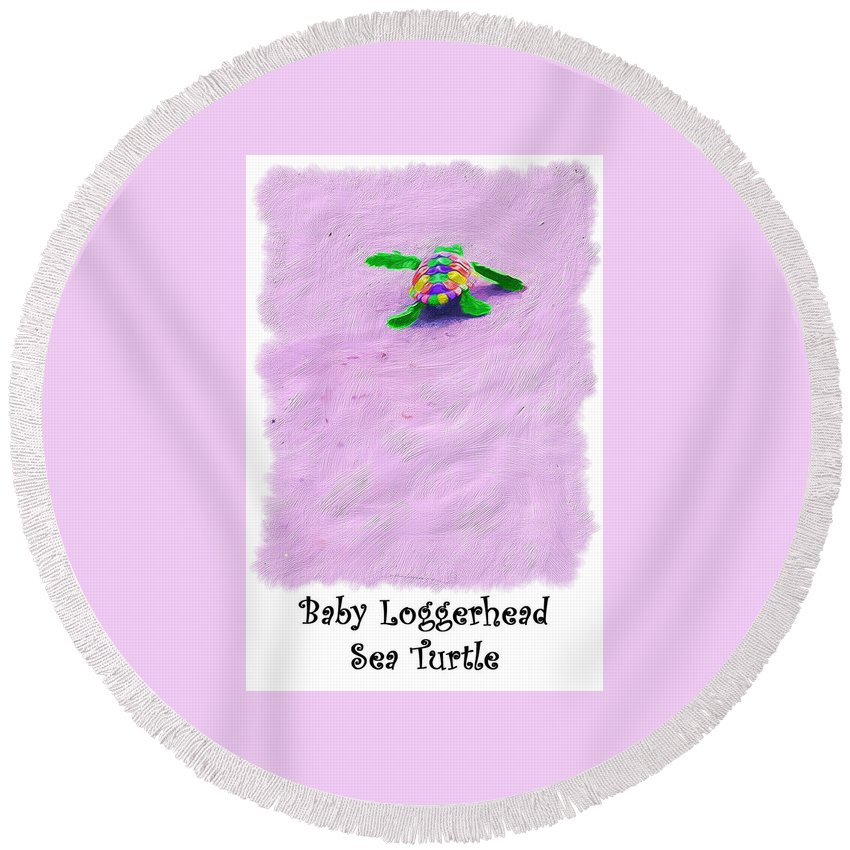 Turtle Round Beach Towel featuring the digital art Sea Turtle Escape Card by Susan Cliett