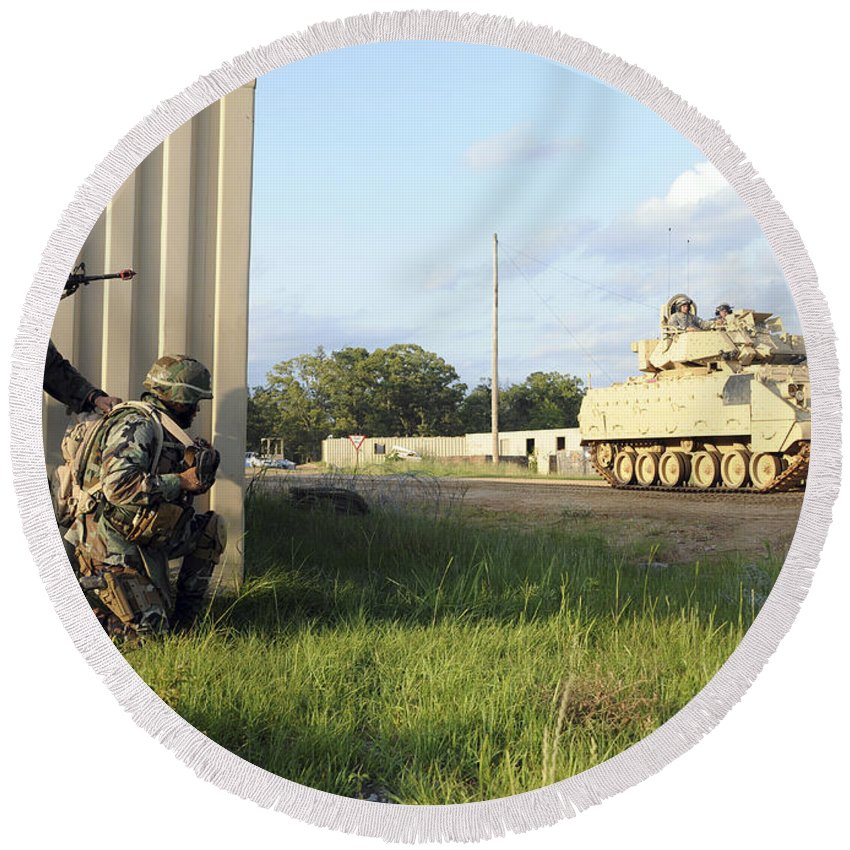 Camp Shelby Round Beach Towel featuring the photograph Seabees Prepare To Assault A Simulated by Stocktrek Images