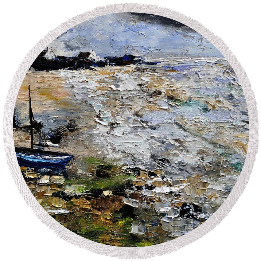 Seascape Round Beach Towel featuring the painting Seascape 451190 by Pol Ledent