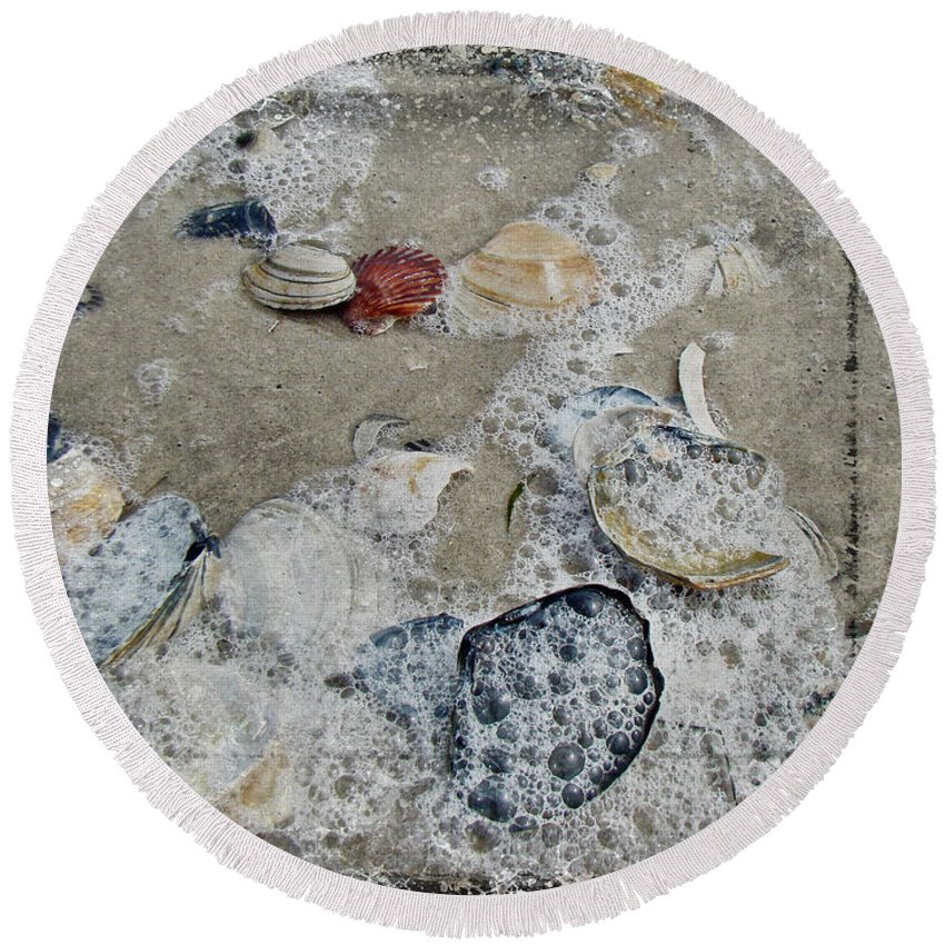 Shells Round Beach Towel featuring the photograph Seashells In The Surf by Mother Nature