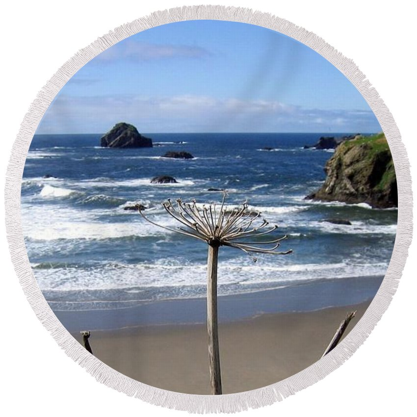 Seaside Solitude Round Beach Towel featuring the photograph Seaside Solitude by Will Borden