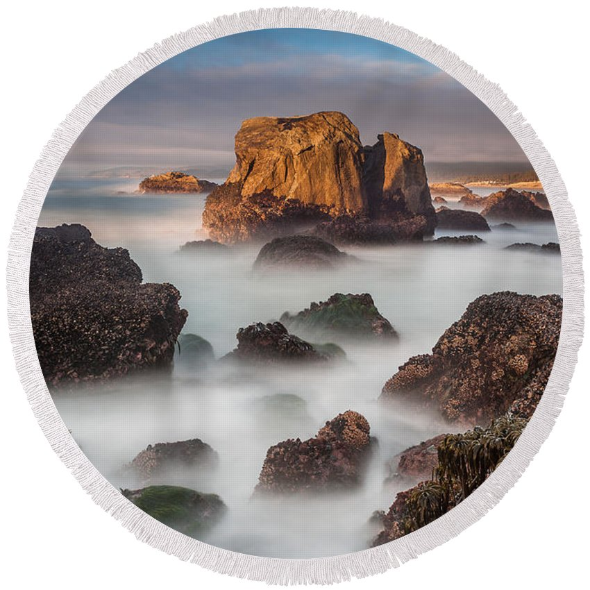 Patrick's Point Round Beach Towel featuring the photograph Seastacks In The Mists by Greg Nyquist