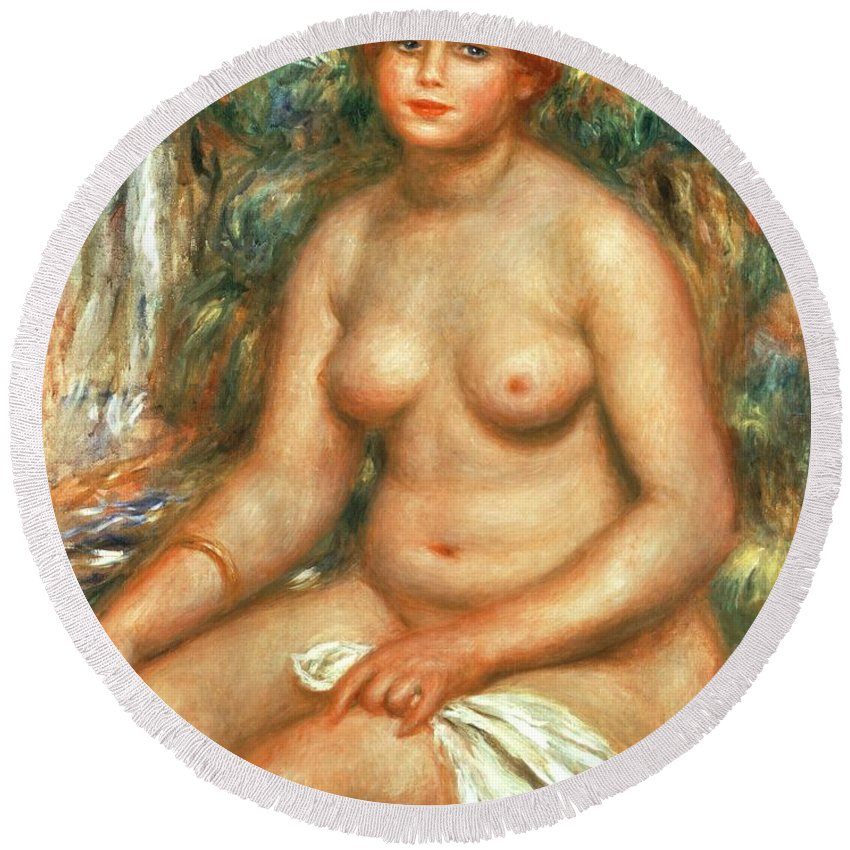 Seated Round Beach Towel featuring the painting Seated Bather by Pierre Auguste Renoir
