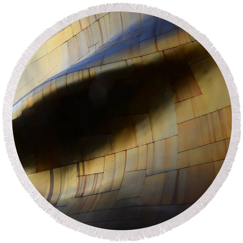 Emp Building Round Beach Towel featuring the photograph Seattle Emp Building 6 by Bob Christopher