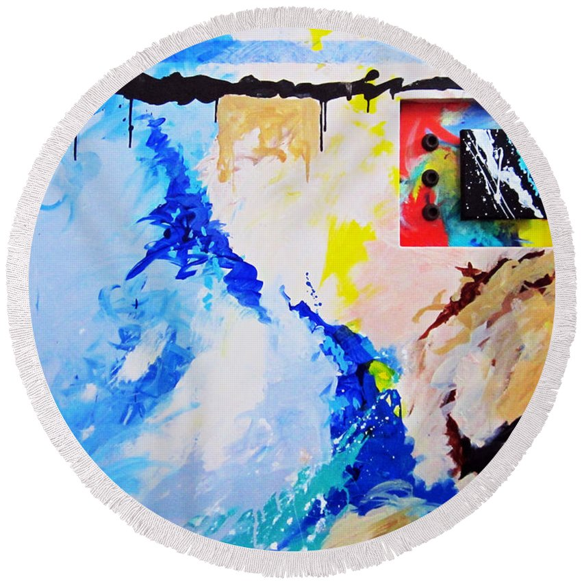 Abstract Round Beach Towel featuring the painting Secret Ambition by Snake Jagger