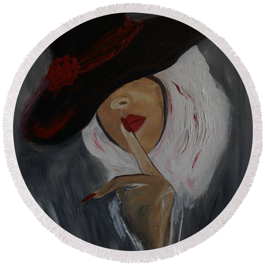 Woman Round Beach Towel featuring the painting Secrets by Leslie Allen