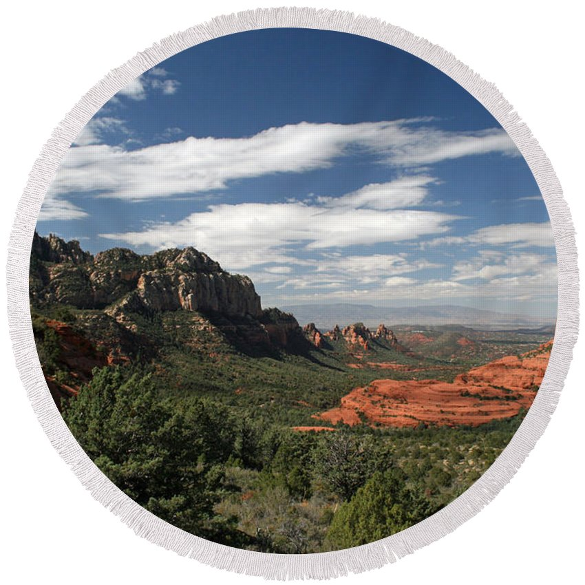 Sedona Round Beach Towel featuring the photograph Sedona Arizona Vista by Elizabeth Rose