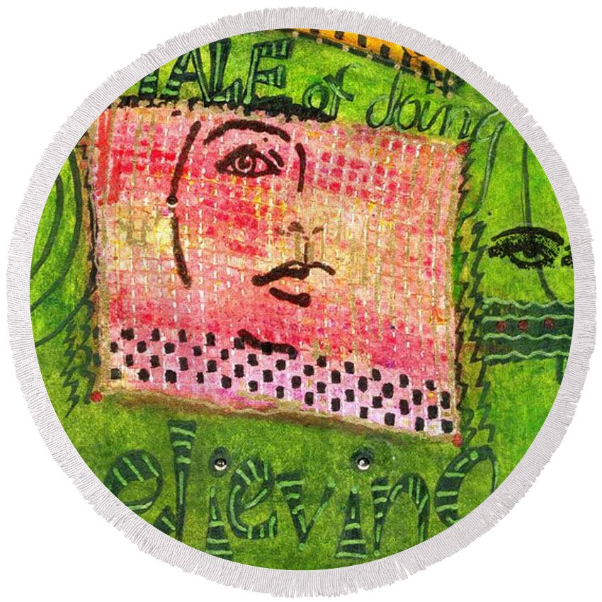 Women Round Beach Towel featuring the mixed media Self-assurance by Angela L Walker