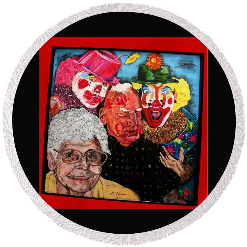 Old People Round Beach Towel featuring the painting Send In The Clowns by Karen Elzinga