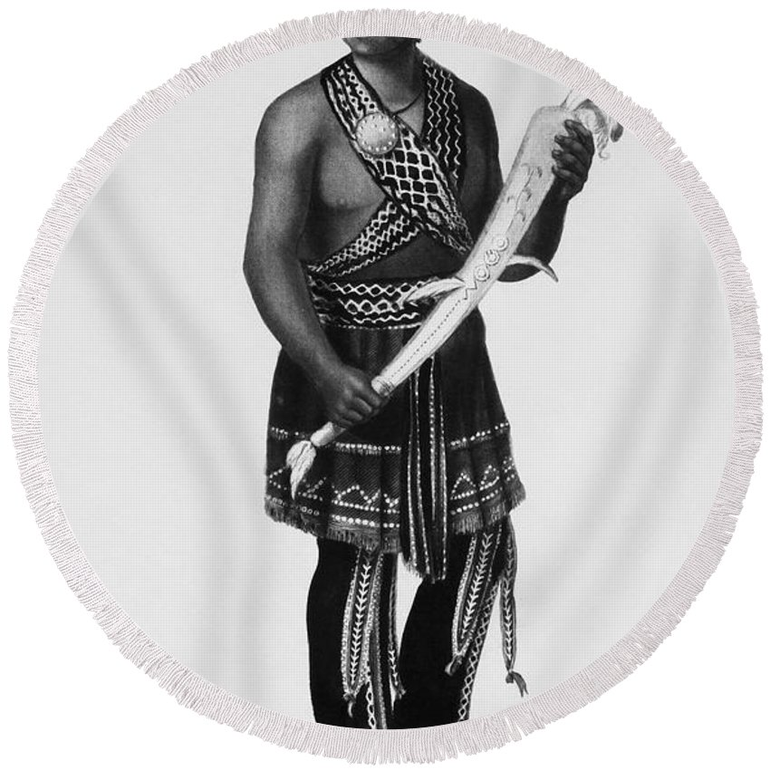 1851 Round Beach Towel featuring the photograph Seneca Man, 1851 by Granger