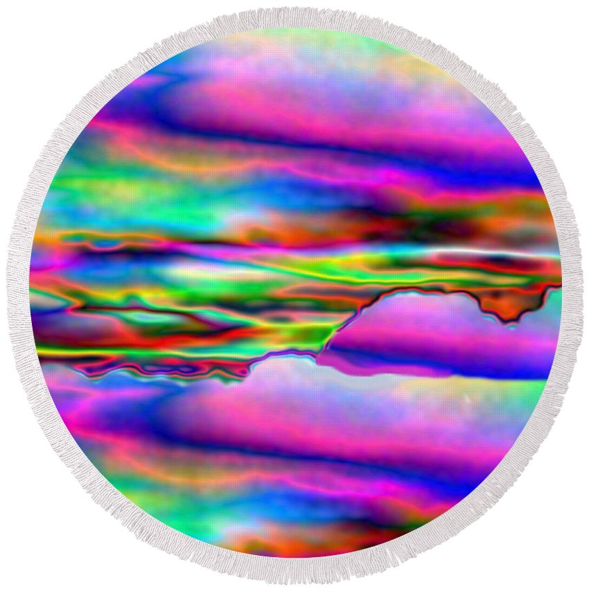 Abstract Round Beach Towel featuring the digital art September Sunrise Abstract by Joyce Dickens