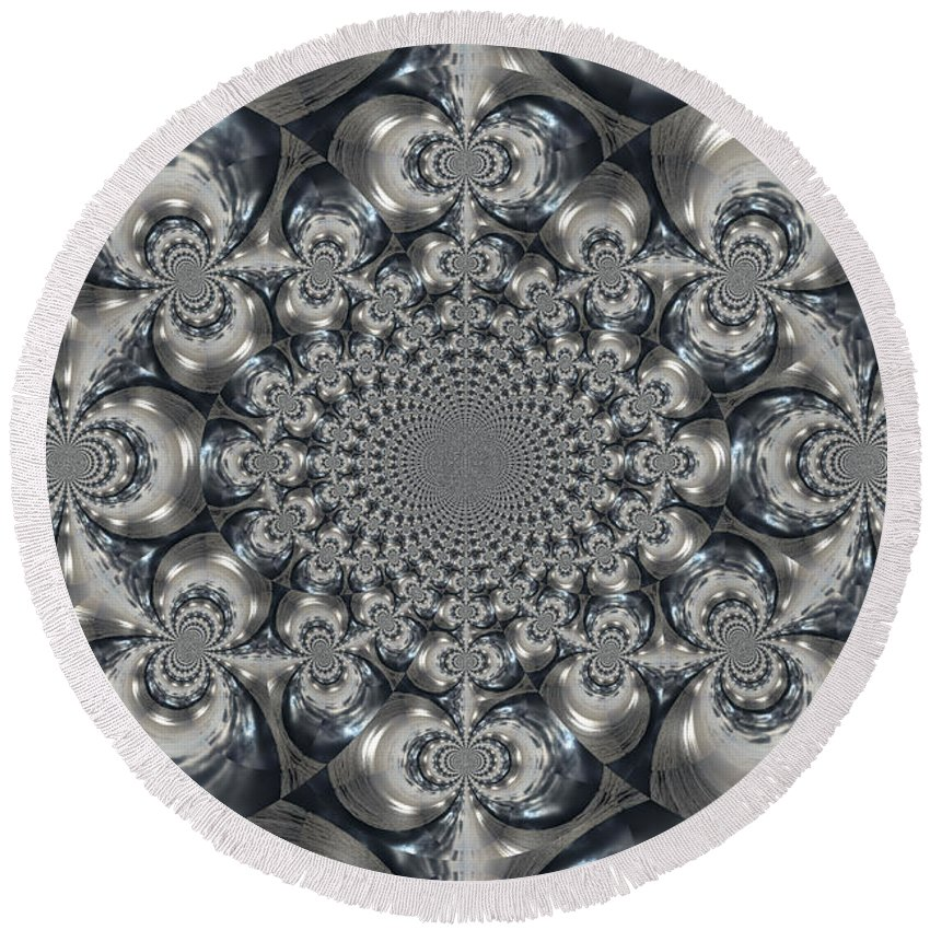 Kaleidoscope Round Beach Towel featuring the photograph Shades Of Grey 2 by Heidi Smith