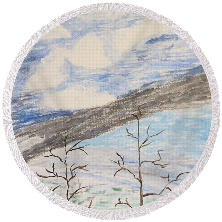 Shades Of Clouds In The Sky Round Beach Towel featuring the painting Shades Of Nature by Sonali Gangane