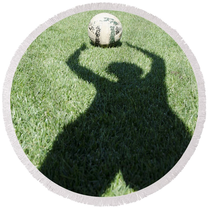 Football Round Beach Towel featuring the photograph Shadow Playing Football by Mats Silvan