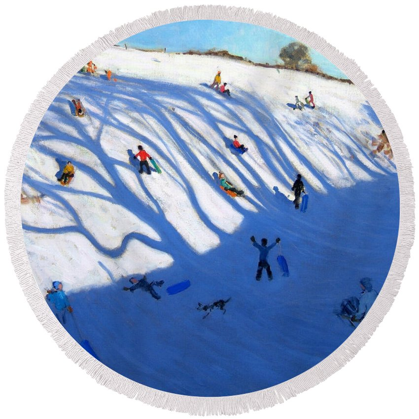 Sledge Round Beach Towel featuring the painting Shandows On A Hill Monyash by Andrew Macara