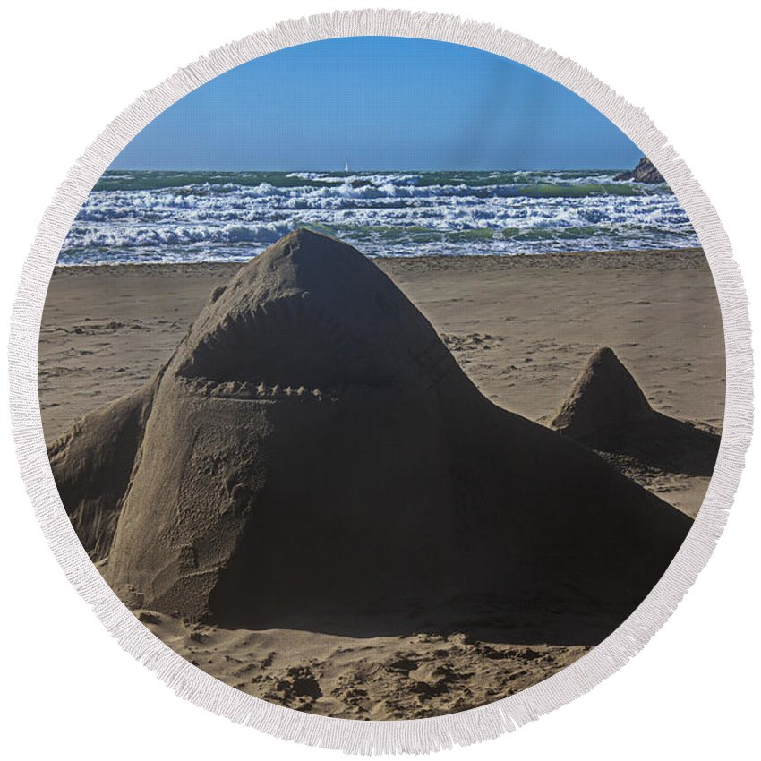 Shark Round Beach Towel featuring the photograph Shark Sand Sculpture by Garry Gay