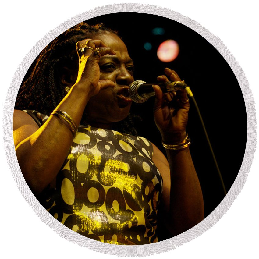 Sharon Round Beach Towel featuring the photograph Sharon Jones by Jeff Ross