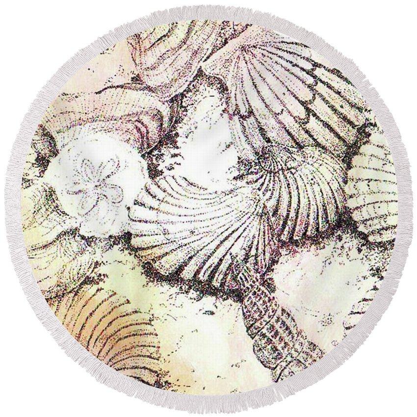 Shells Round Beach Towel featuring the mixed media Shells by Lizi Beard-Ward
