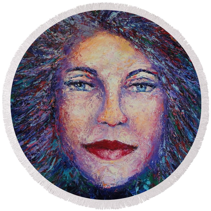 She's Come Undone Round Beach Towel featuring the painting She's Come Undone by Shannon Grissom