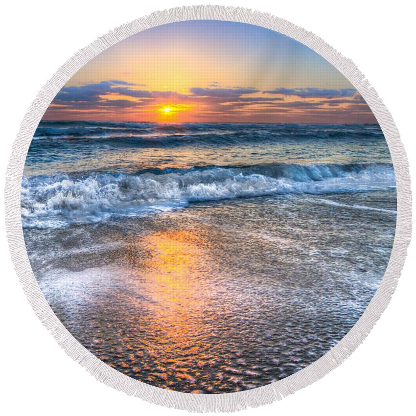 Clouds Round Beach Towel featuring the photograph Shimmer by Debra and Dave Vanderlaan