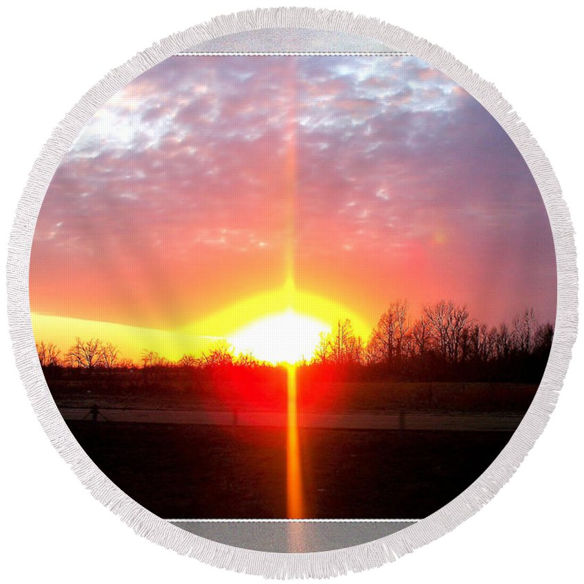 Landscape Round Beach Towel featuring the photograph Shine On by Debbie Portwood