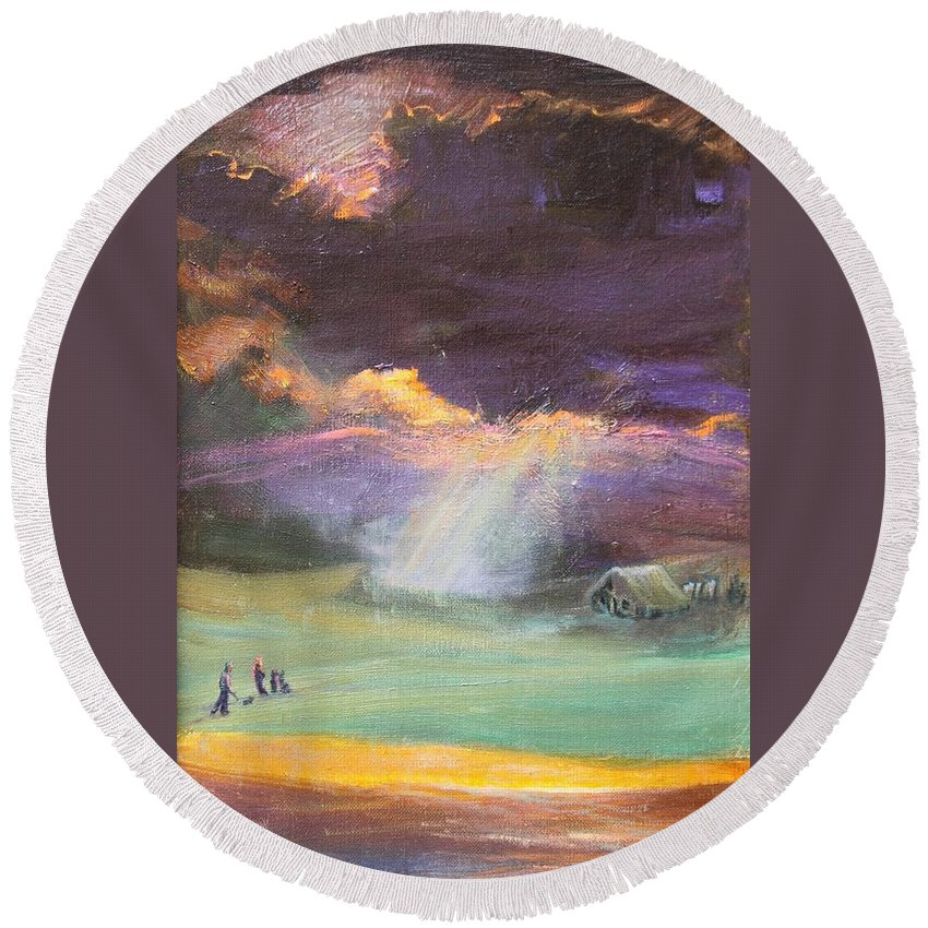 Oil Painting Luminous Houston Round Beach Towel featuring the painting Shine Through by Maris Salmins