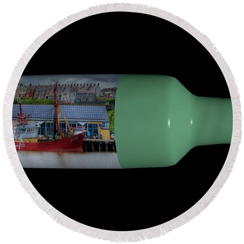3d Round Beach Towel featuring the photograph Ship On A Bottle With Black by Steve Purnell