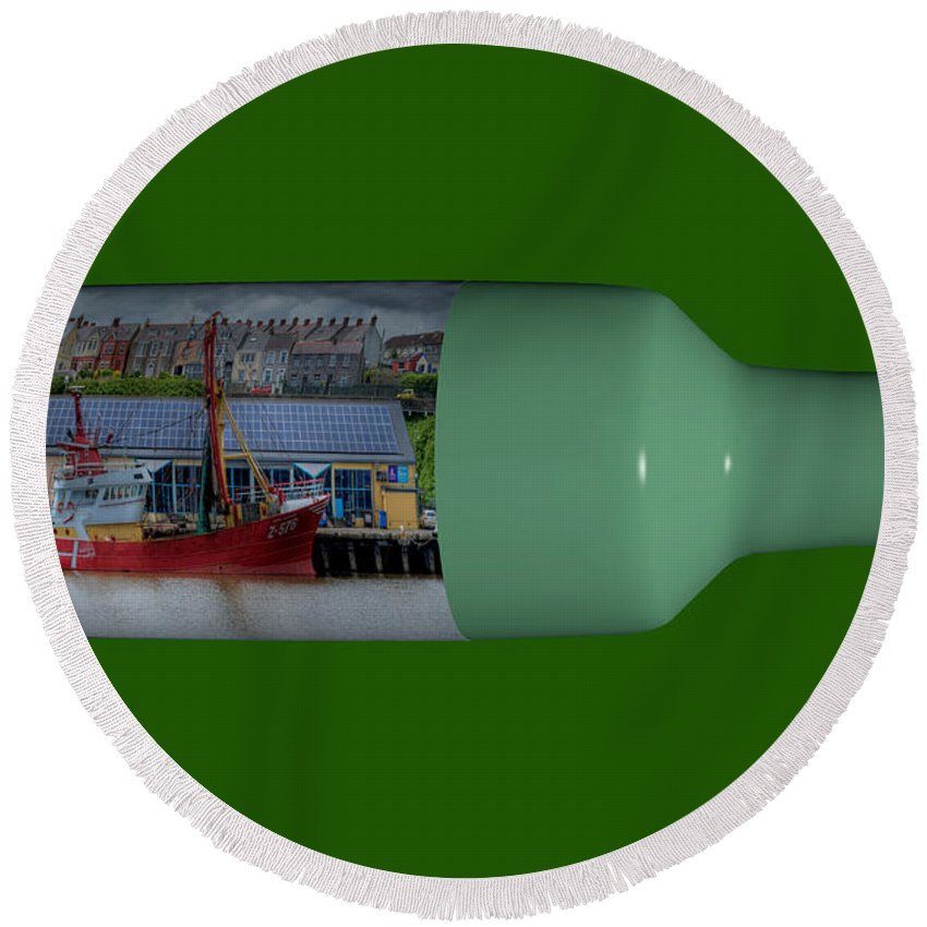 3d Round Beach Towel featuring the photograph Ship On A Bottle With Green by Steve Purnell