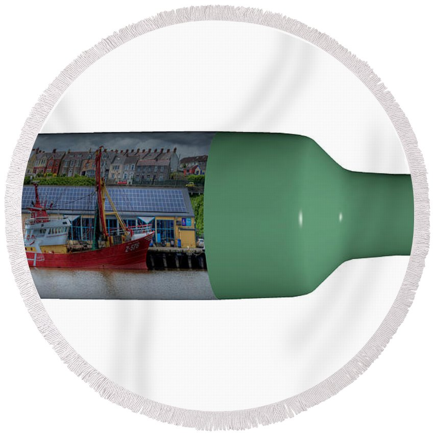 3d Round Beach Towel featuring the photograph Ship On A Bottle With White by Steve Purnell