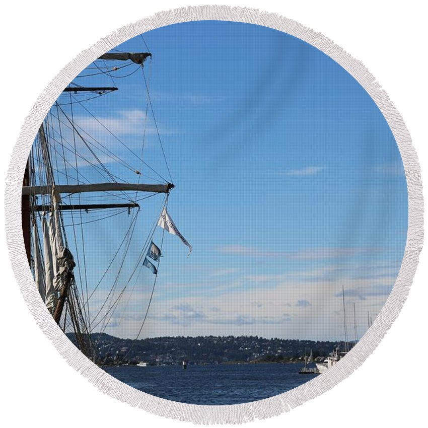 Oslo Round Beach Towel featuring the photograph Ships In Oslo Harbor by Carol Groenen