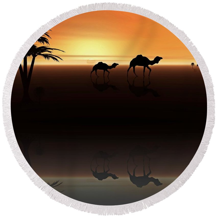 Camel Round Beach Towel featuring the digital art Ships Of The Desert by David Dehner