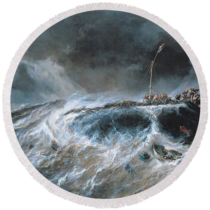 Boat Round Beach Towel featuring the painting Shipwreck by Louis Isabey