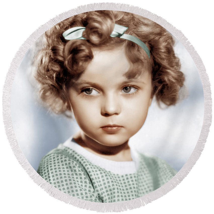 Shirley Temple Round Beach Towels