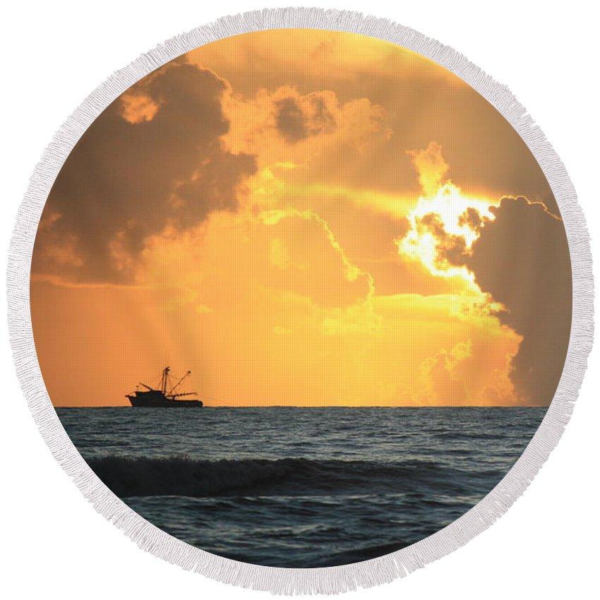 Sunrise Round Beach Towel featuring the photograph Shrimp Boat Sunrise by Mandy Shupp