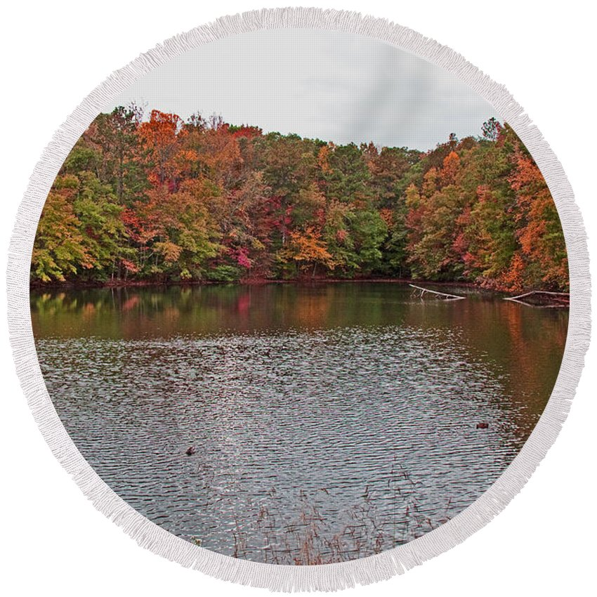 Water Round Beach Towel featuring the photograph Sibley Pond by David Campbell