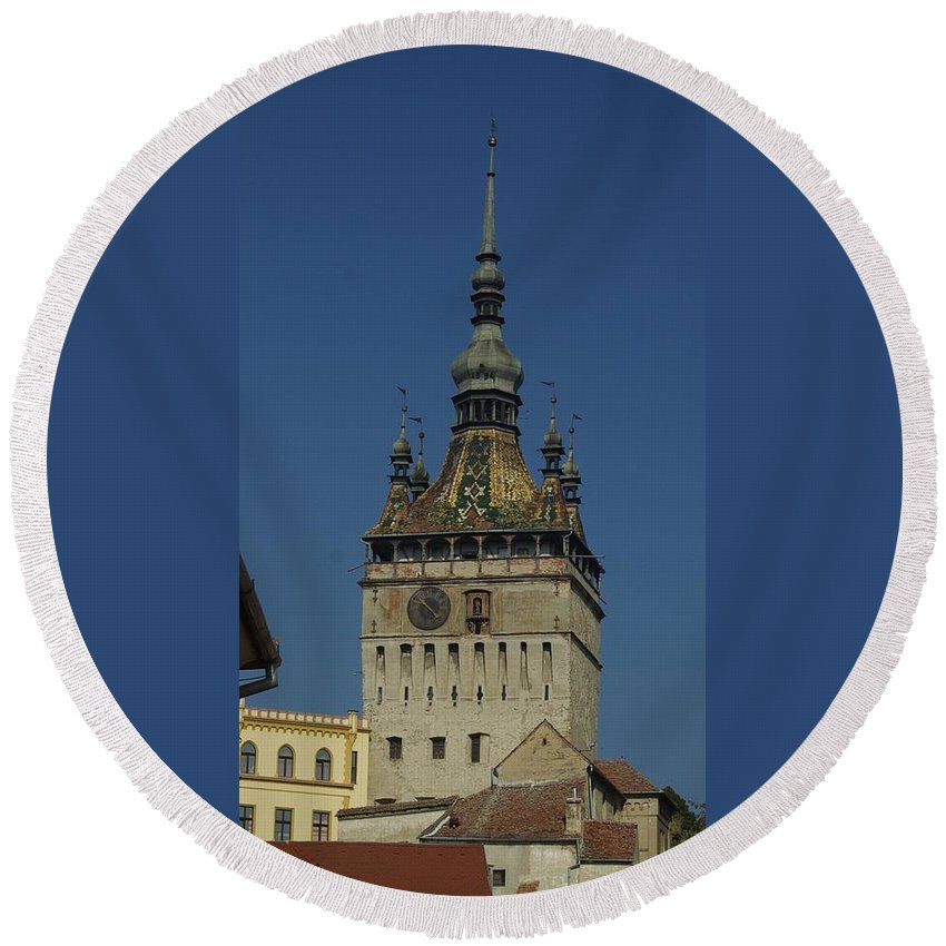 Old Town Round Beach Towel featuring the photograph Sighisoara clock tower 1 by Amalia Suruceanu