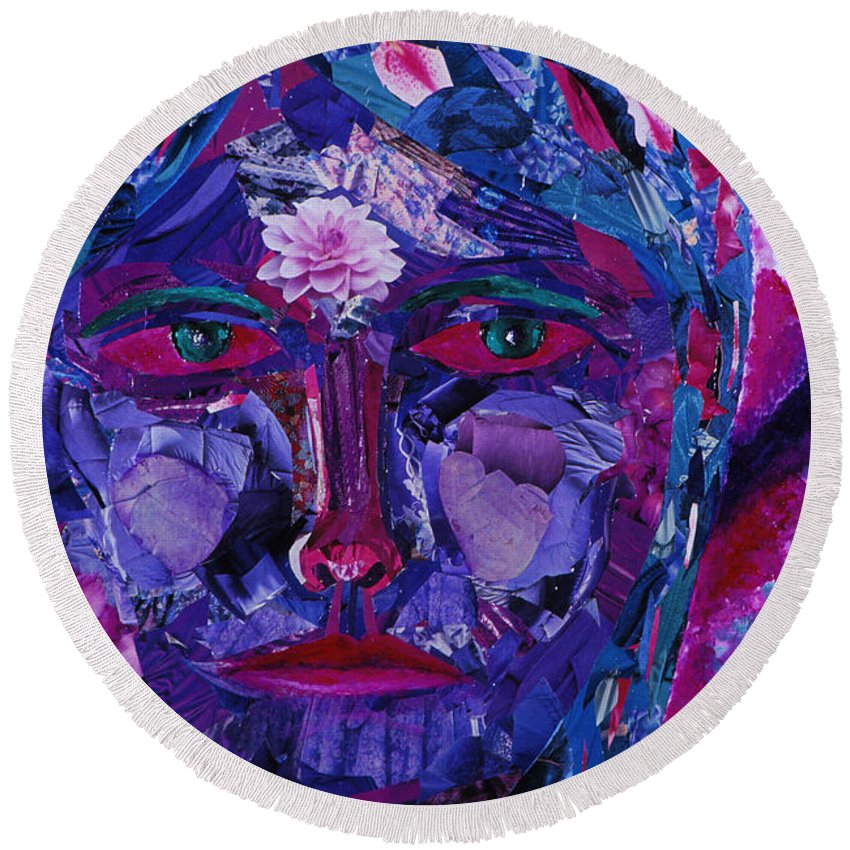 Colorful Round Beach Towel featuring the mixed media Sight by Diane Clancy