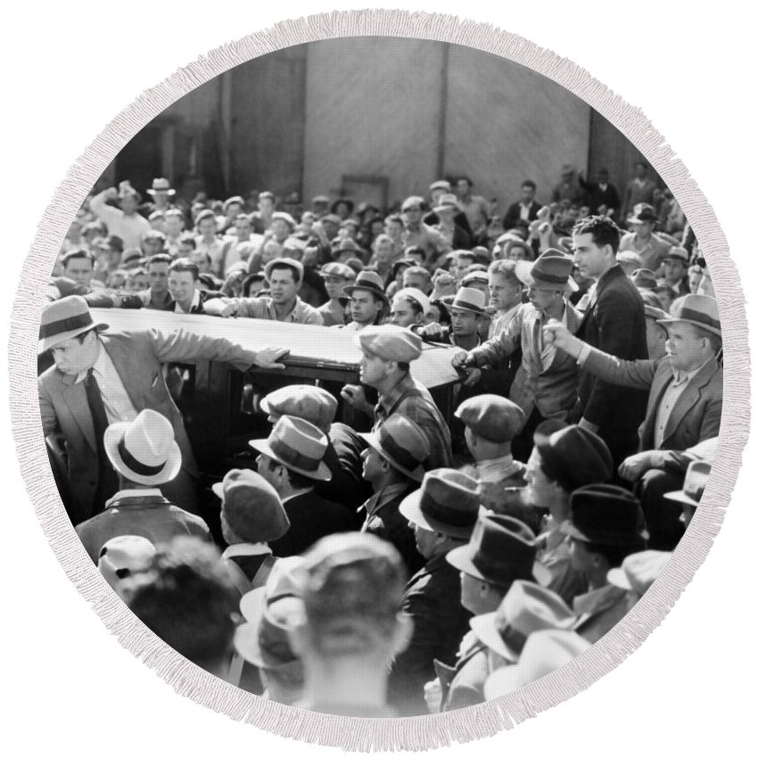-crowds- Round Beach Towel featuring the photograph Silent Film: Crowds by Granger