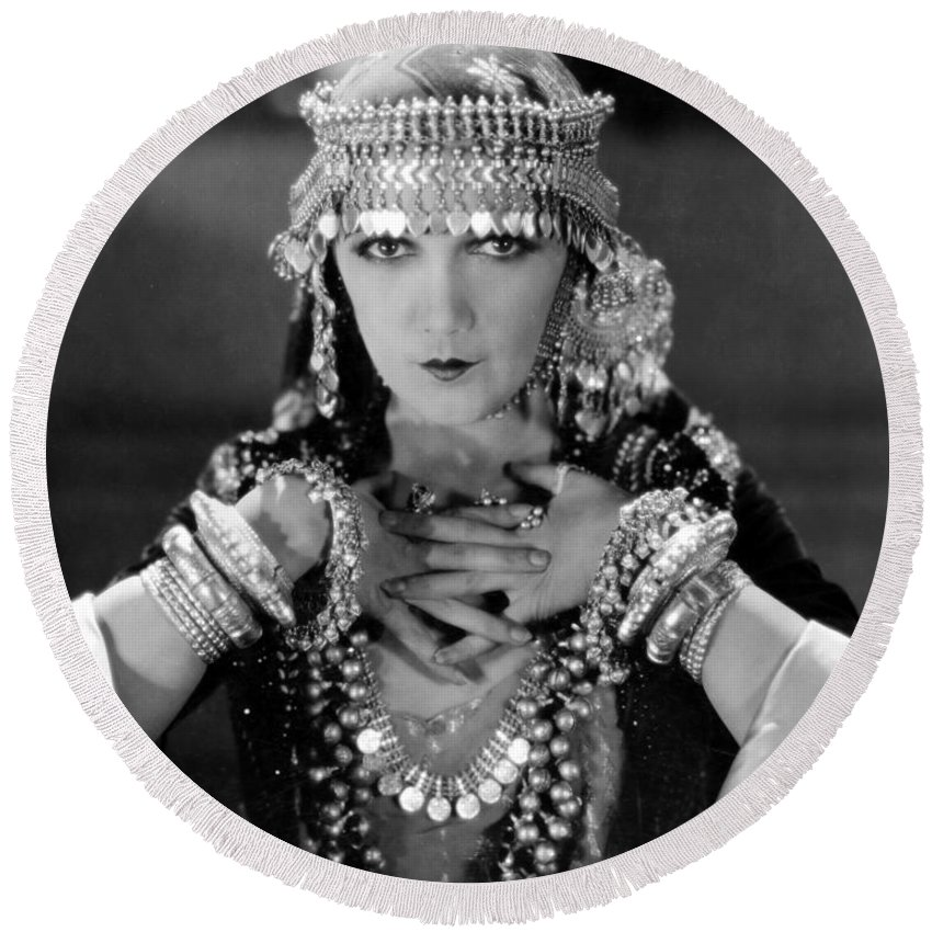 -women Costumes- Round Beach Towel featuring the photograph Silent Film Still: Costume by Granger