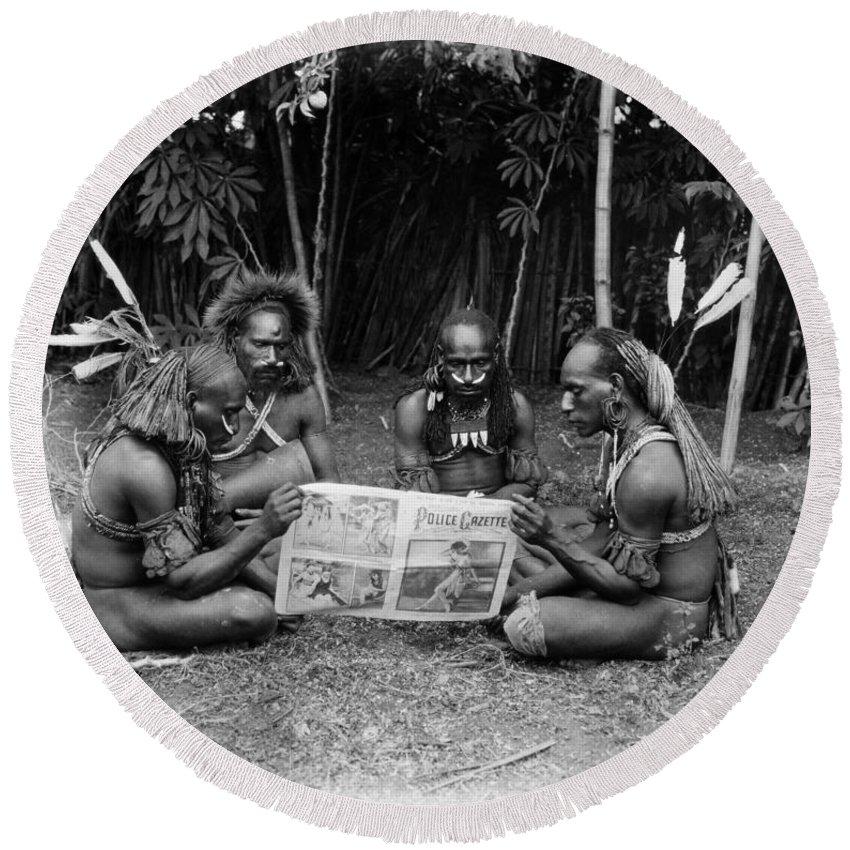 -ecq- Round Beach Towel featuring the photograph Silent Film Still: Natives by Granger