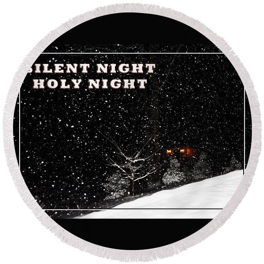 Christmas Round Beach Towel featuring the photograph Silent Night Card by John Haldane