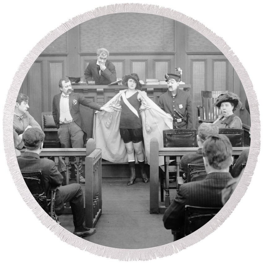 -courtroom- Round Beach Towel featuring the photograph Silent Still: Courtroom by Granger